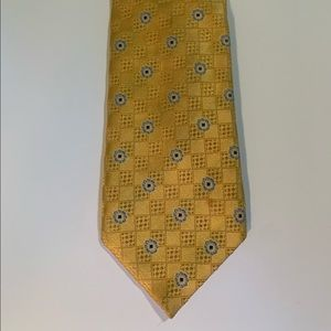 Canali gold and blue geometric tie
